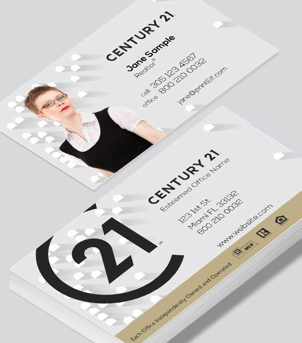 Modern contemporary business card design -Century 21 real estate business card
