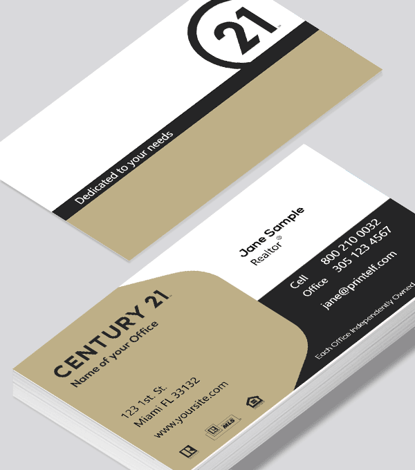 Modern contemporary business card design -Century 21 Realtor Affiliate business card