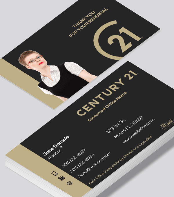 Modern contemporary business card design -Century 21 Realty business cards