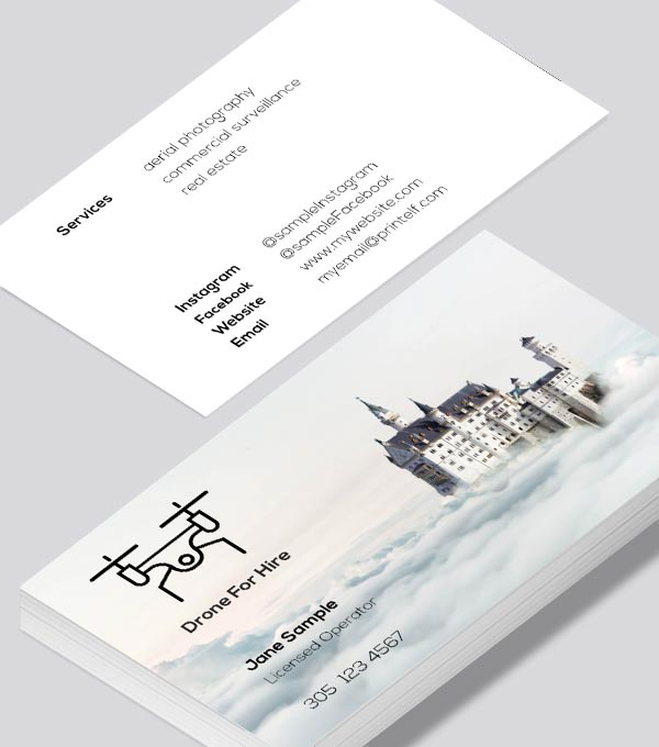 Modern contemporary business card design -Drone For Hire business card