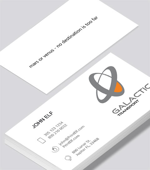 Modern contemporary business card design -Galactic Transport business card