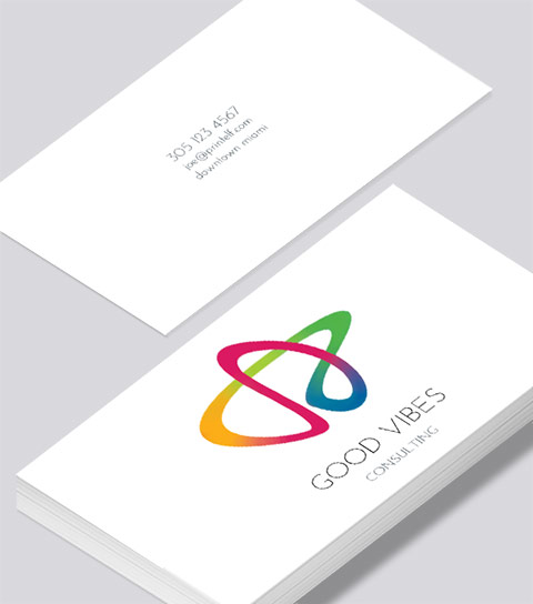 Modern contemporary business card design -Good Vibes business card
