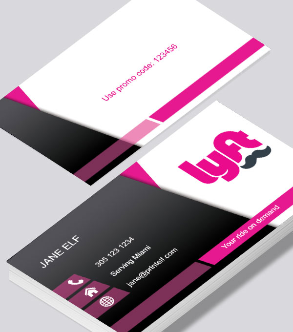 Modern contemporary business card design -Lyft business card dark light