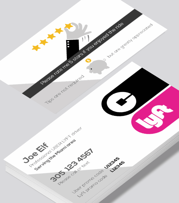 Modern contemporary business card design -Uber  Lyft rating and tip business card