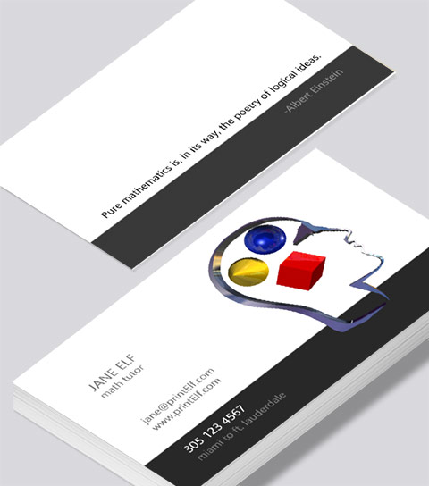 Modern contemporary business card design -Math Tutor business card