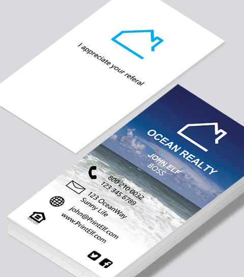 Modern contemporary business card design -Ocean Realty business card