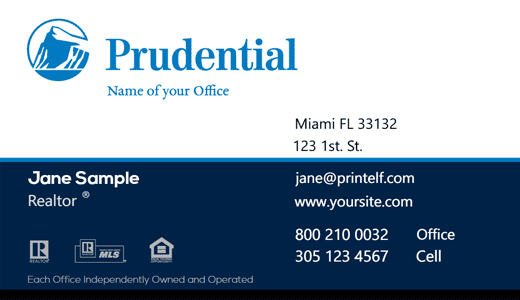 Modern design. Prudential Realtor, Essentual business card for the broker