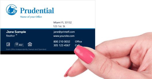 Hand holding business card - Prudential Broker business card
