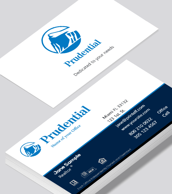 Modern contemporary business card design -Prudential Broker business card