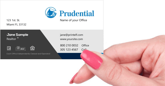 Hand holding business card - Prudential Classic business card