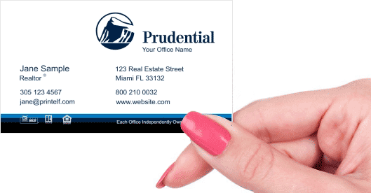 Hand holding business card - Prudential Essential business card