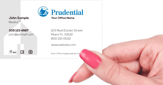 Hand holding business card - Prudential Modern business card