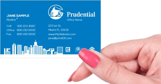 Hand holding business card - Prudential Realtor business card