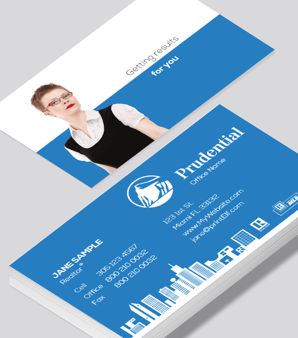 Modern contemporary business card design -Prudential Realtor business card