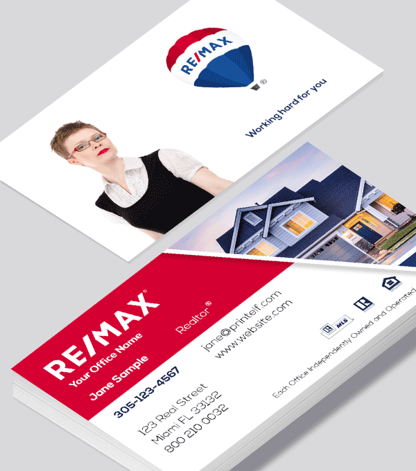 Modern contemporary business card design -ReMax estate agent business card