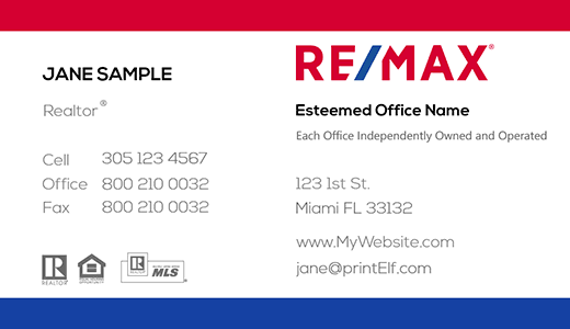 Modern design. Remax business card classic with photo