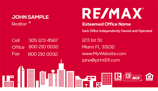 Modern design. Remax red business card with city scape