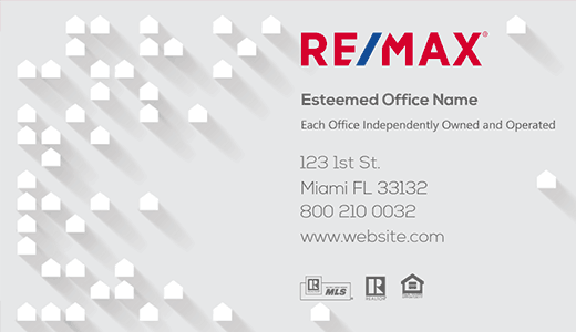 Modern design. Remax light gray business card with small houses