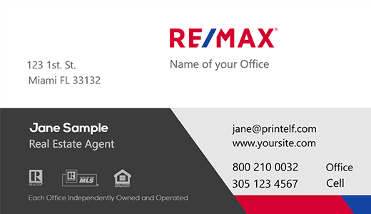 Modern design. Remax clean look business card