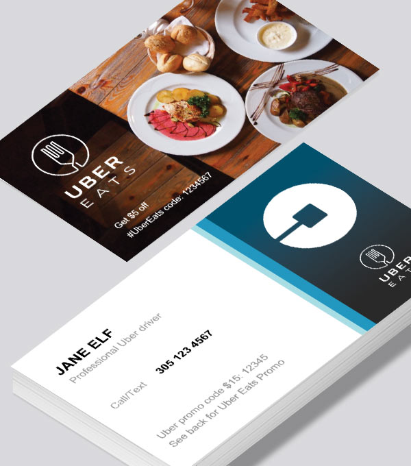Uber business cards printed by Printelf - Free templates