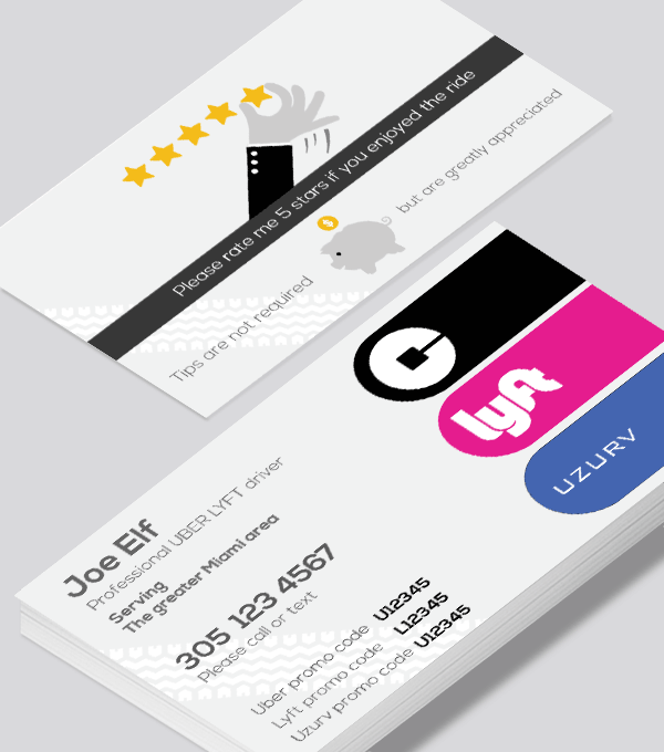 Modern contemporary business card design -Uber Lyft Uzurv business card