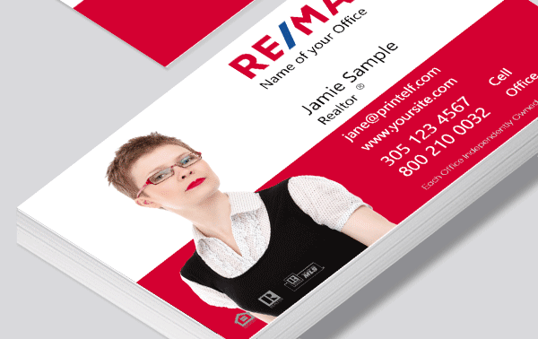Remax business card with photo. background removed.